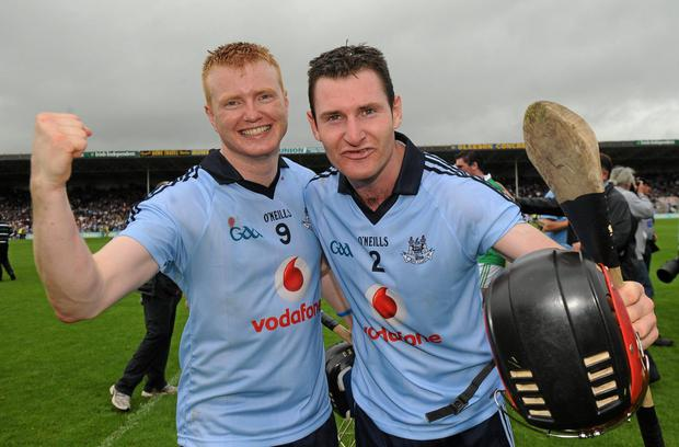 Dublin's Maurice O'Brien and Niall Corcoran celebrate defeating Limerick in the 2011 All-Ireland SHC quarter-final. Pics: Sportsfile