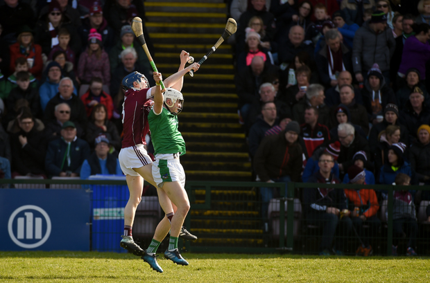 TOP CLASS: Limerick's Aaron Gillane competes in the air with Galway's Shane Bannon during their Allianz HL Division 1B clash last March. Pic: Sportsfile
