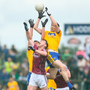 Aerial battle: Roscommon's Cathal Compton claims possession at midfield over Galway's Thomas Flynn during yesterday's Connacht SFC final at Dr Hyde Park, Roscommon