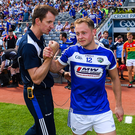 CROKER MISSION: Laois manager John Sugrue celebrates their Leinster SFC semi-final win over Carlow with Damien O'Connor