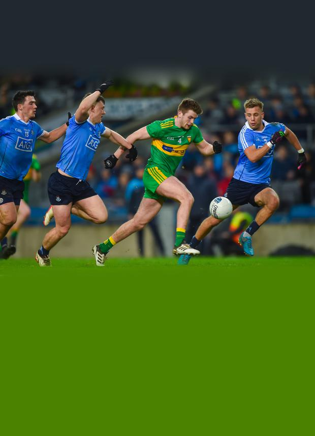 CHASE: Eoghan Bán Gallagher of Donegal in action against Dublin during the league match in February. Pic: Sportsfile