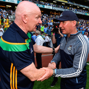RIVAL CAMPS: Donegal manager Declan Bonner and Dublin's Jim Gavin shakes hands after Saturday night's game