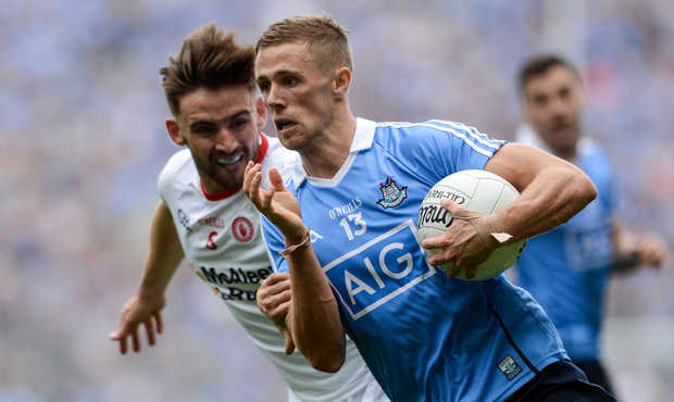ON THE MOVE: Dublin's Paul Mannion tries to get past Tyrone's Pádraig Hampsey during last August's All-Ireland SFC semi-final at Croke Park. Photo: SPORTSFILE
