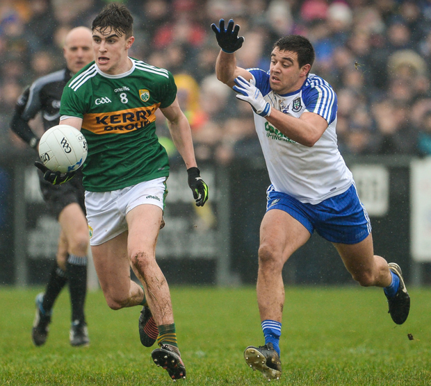Farney fling: Kerry's Seán O'Shea is tracked by Monaghan's Drew Wylie during their Allianz Football League Division 1 match at Páirc Grattan in Inniskeen, Monaghan last February. Photo: Sportsfile