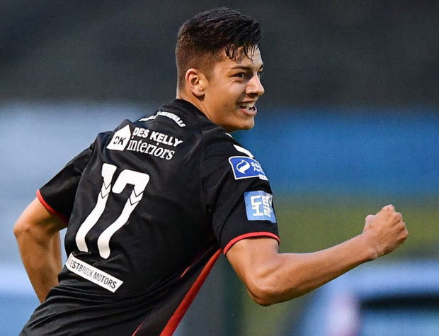 Goal: Romanian-born forward Cristian Magerusan celebrates after scoring on his debut for Bohemians in last week's win over Bray Wanderers