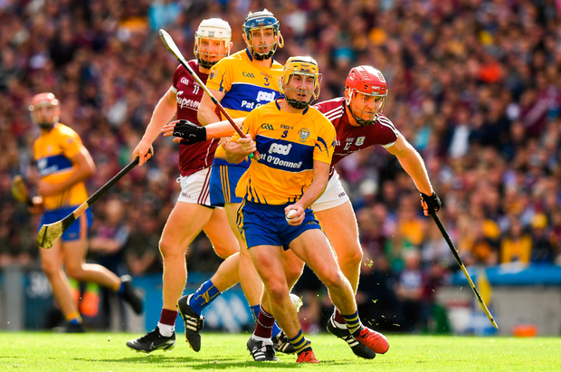 KEY ROLE: Clare's Colm Galvin in action against Galway's Jonathan Glynn during last Saturday's All-Ireland SHC semi-final at Croke Park. Photo: SPORTSFILE