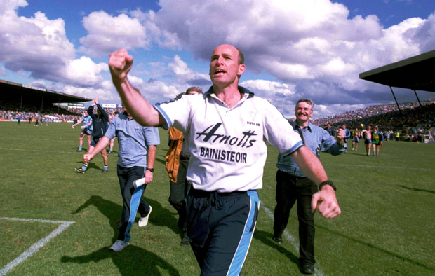 THURLES THRILLER: Dublin manager Tom Carr acknowledges Dublin fans at the end of the drawn 2001 All-Ireland SFC quarter-final against Kerry in Semple Stadium, Thurles. Photo: Sportsfile