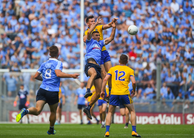 Dublin's James McCarthy, in action against Roscommon's Tadhg O'Rourke last Sunday, gives his manager Jim Gavin options at midfield and across the half-back line