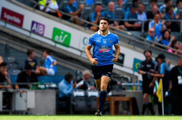 Bernard Brogan of Dublin comes on as a substitute in the second half during the GAA Football All-Ireland Senior Championship Quarter-Final Group 2 Phase 3 match between Dublin and Roscommon at Croke Park in Dublin. Photo: SPORTSFILE