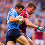 Kevin McManamon of Dublin in action against Gareth Bradshaw of Galway during the All-Ireland SFC semi-final at Croke Park. Pic: Sportsfile