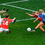 PRECISION FINISH: Dublin's Carla Rowe scores her second and her side's third goal despite the efforts of Cork Doireann O'Sullivan, Martina O'Brien and Róisín Phelan