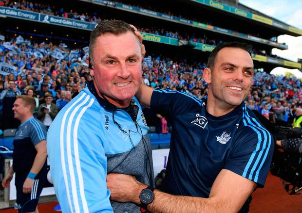 Dubs boss Mick Bohan and defensive coach Paul Casey soak in the success. Photo: SPORTSFILE