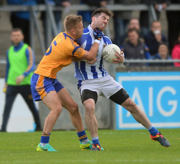 NO LOVE LOST: Ballyboden St Enda's Michael Darragh Macauley in action against his Dublin teammate Jonny Cooper of Na Fianna during their Dublin SFC1 quarter-final at Parnell Park. Pic: Caroline Quinn