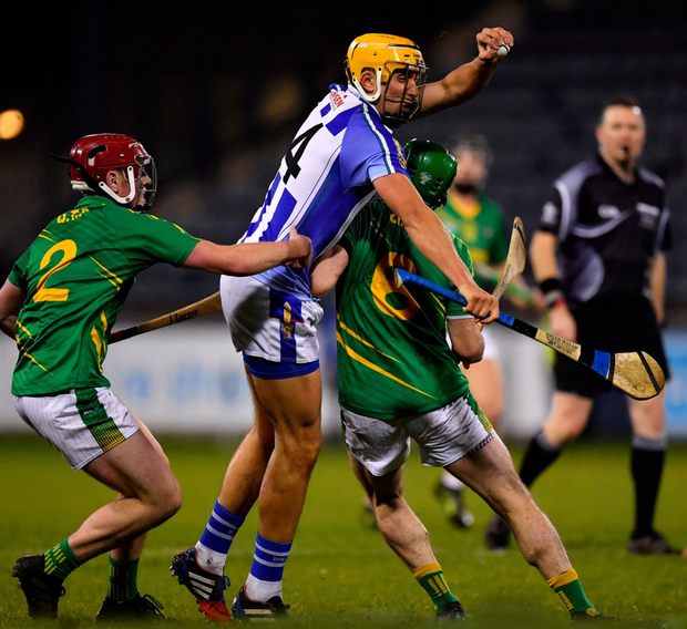 ON THE MOVE: Ballyboden St Enda's Conor Dooley tries to get past Clonkill's Paddy Dowdall during last night's Leinster Club SHC quarter-final at Parnell Park Pic: Sportsfile