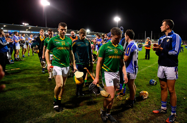 RESPECT: Ballyboden St Enda's hurlers form a guard of honour for Clonkill after Tuesday night's Leinster Club SHC quarter-final at Parnell Park. Photo: SPORTSFILE