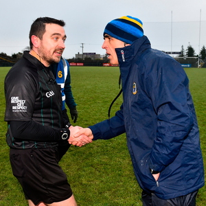 LATE CALL: Ref Noel Mooney and Roscommon manager Anthony Cunningham. Pic: Sportsfile