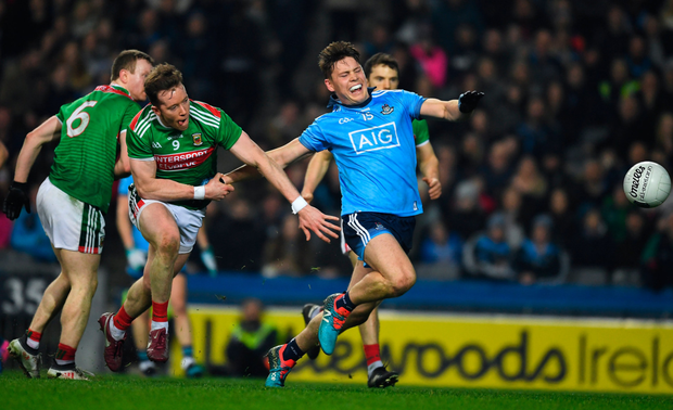 ON THE BURST: Dublin's Con O'Callaghan looks to be fouled by Mayo's Donal Vaughan late in last Saturday night's Allianz FL Division 1 clash at Croke Park. Photo: Sportsfile
