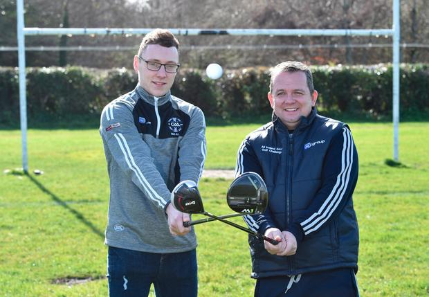 HURLING MEN: Waterford hurler Kieran Bennett with Wexford manager Davy Fitzgerald at the 20th annual KN Group All-Ireland GAA Golf Challenge launch. Pic: Sportsfile