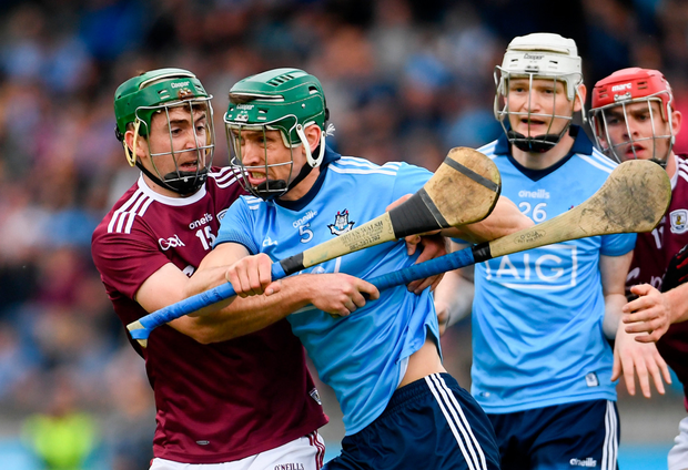 PUSHING FORWARD: Dublin's Chris Crummey is tackled by Brian Concannon of Galway during the Leinster SHC Round 5 match at Parnell Park on Saturday. Photo by Ramsey Cardy/Sportsfile