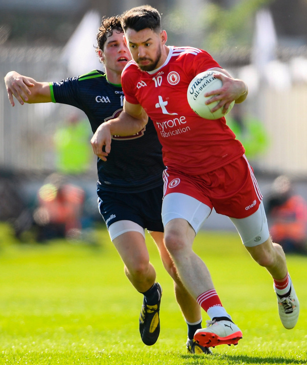 Tyrone's Matthew Donnelly takes on Chris Healy of Kildare during their All-Ireland SFC Round 3 qualifier at St Conleth's Park in Newbridge on Saturday