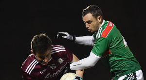 Antaine Ó Laoi of Galway in action against Keith Higgins of Mayo during the Allianz Football League but today the stakes are higher as one of the counties will crash out of the All-Ireland championship