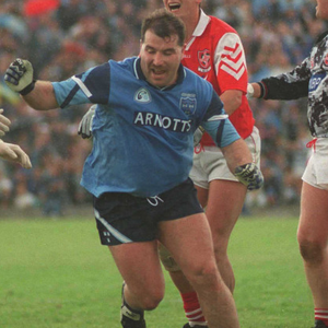 Joe McNally celebrates scoring a crucial late goal against Louth in the 1996 Leinster semi-final.