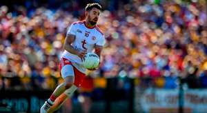 The Trillick man was superb after the restart, kicking three points and having a hand in both of Tyrone's second half goals. Pic: Sportsfile