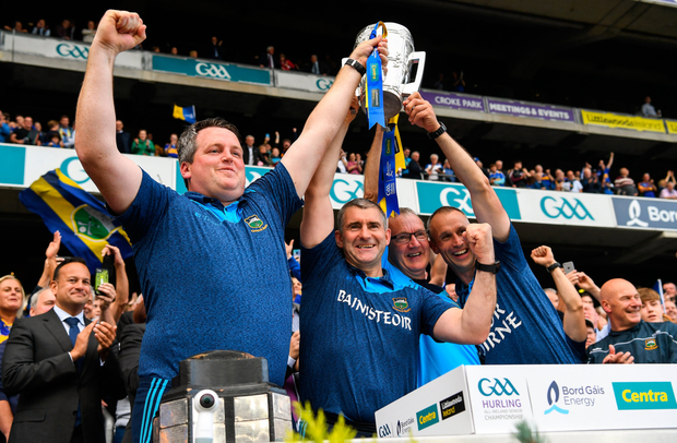 OUR DAY: The Tipperary management (l-r) Daragh Egan, manager Liam Sheedy, Eamon O'Shea and Tommy Dunne. Pic: Sportsfile