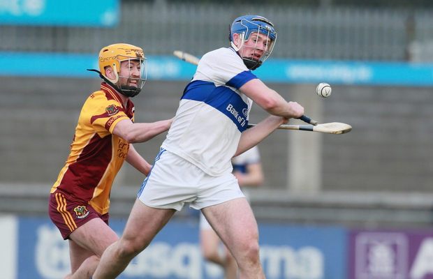 St Vincents Conor Burke is caught by Craobh Chiarain's Gary Kelly during the Dublin Senior A Hurling Championship in Parnell Park.Picture Credit:Frank McGrath 19/4/19