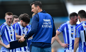 Brian O'Regan, Director of Coaching at Ballyboden St Enda's, speaking to his players during the Dublin County SFC quarter-final match against Raheny at Parnell Park