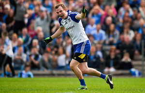 Jack McCarron of Monaghan celebrates after scoring a goal during the Allianz Football League match against Dublin in Clones. Photo: Philip Fitzpatrick/Sportsfile