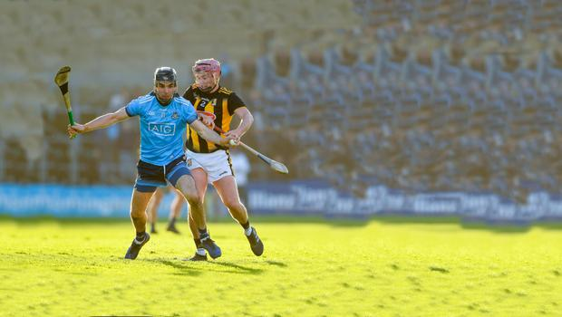 Nowlan nightmare: Dublin's Danny Sutcliffe comes under pressure from Ciarán Wallace of Kilkenny during the Allianz Hurling League match on Sunday
