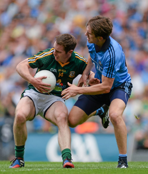Meath's Stephen Bray is tackled by Michael Fitzsimons in the 2014 Leinster final