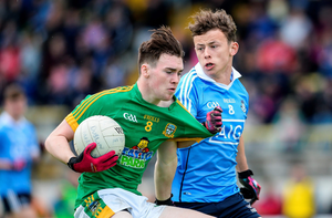 Daragh Champion of Meath in action against Nathan Nolan of Dublin in Navan. Photo: Sportsfile