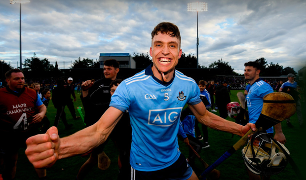 DAYS LIKE THIS: Chris Crummey savours the Dublin win over Galway with their fans on the Parnell Park turf. Photo by Ramsey Cardy/Sportsfile