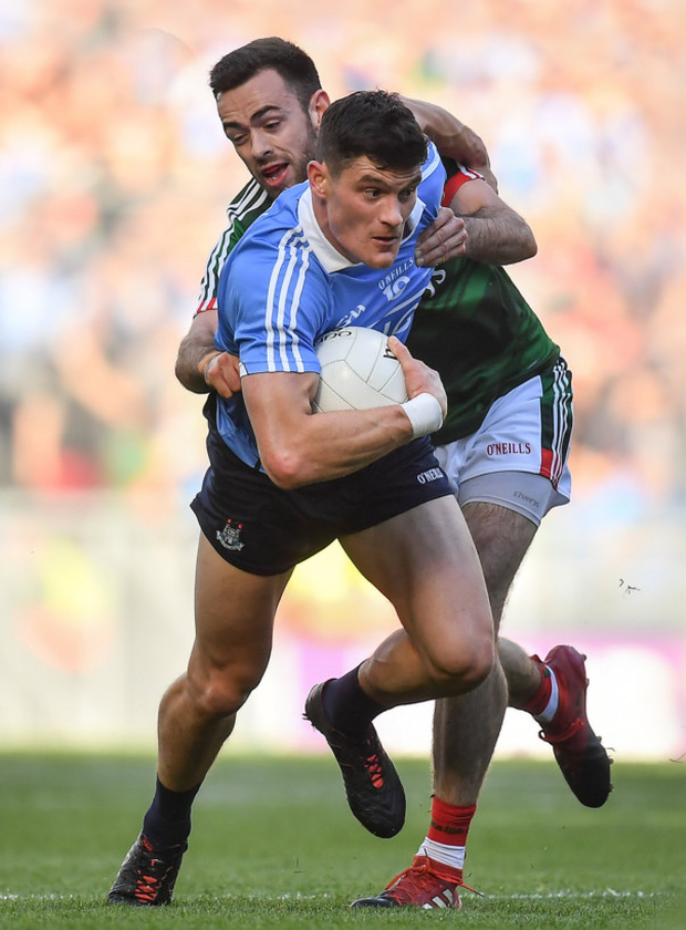 Diarmuid Connolly, in action against Mayo's Kevin McLoughlin in the 2017 All-Ireland Final, was a key player in Dublin's victory that day