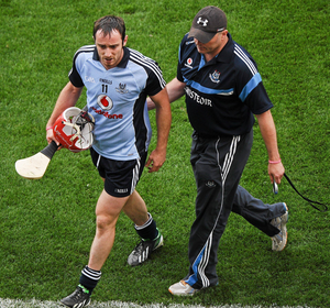 Ryan O'Dwyer is escorted off by Anthony Daly
