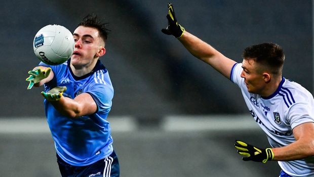 IN CONTROL: Dan O'Brien of Dublin in action against Conor McCarthy of Monaghan at Croke Park on Saturday. Photo: SPORTSFILE