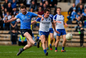 Dublin's Jack McCaffrey fires to the Monaghan net late in yesterday's Allianz FL Division 1 clash at Clones. Pics: Sportsfile