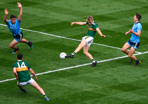 Killian Spillane scores a goal for Kerry after coming on in the second half on Sunday