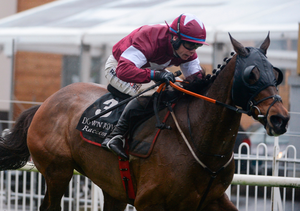 Monbeg Notorious was prominent throughout the three-and-a-quarter-mile affair. Pic: Sportsfile