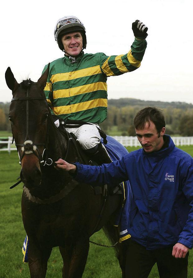 4,000 NOT OUT: Tony McCoy is pictured after riding Mountain Tunes to glory - his 4,000th winner - at Towcester on Thursday.