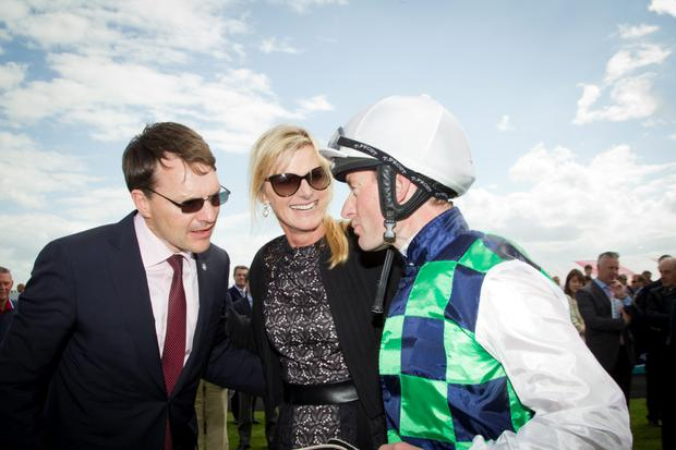 Trainer Aidan O'Brien congratulates Seamie Heffernan
