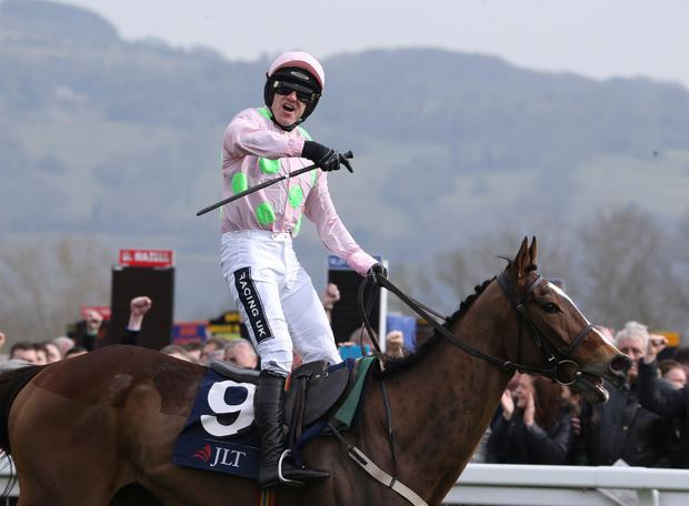 Vautour ridden by Ruby Walsh wins at Cheltenham last March