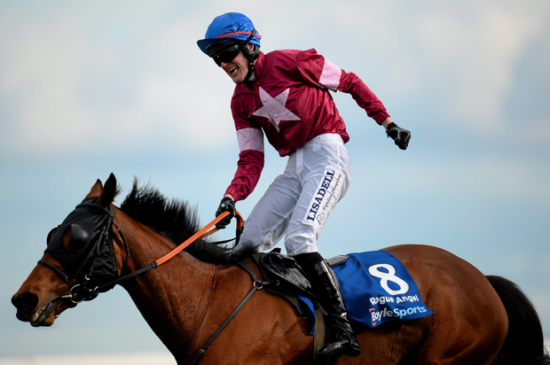 Ger Fox celebrates his Irish Grand National win on board Rogue Angel at Fairyhouse. Photo: Sportsfile