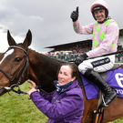 Ruby Walsh celebrates on Vroum Vroum Mag after winning the BETDAQ Punchestown Champion Hurdle last April