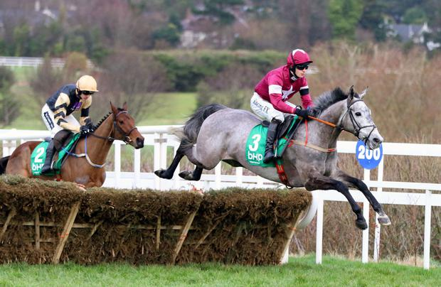 Petit Mouchoir, with David Mullins on board, on the way to winning the BHP Insurance Irish Champion Hurdle at Leopardstown. Pic: Alain Barr