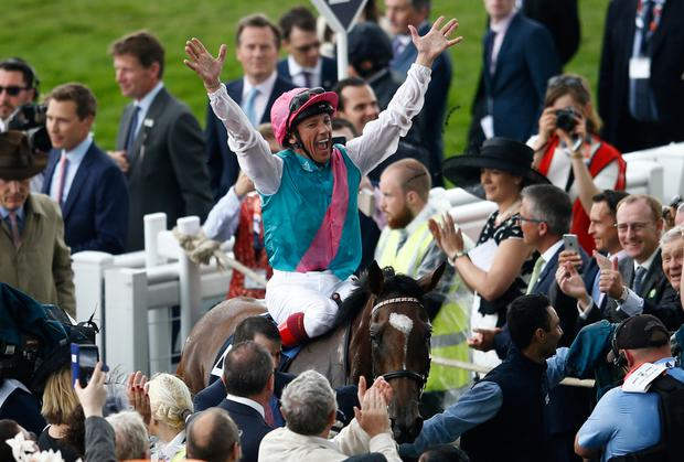 An exuberant Frankie Dettori after his Oaks success on Enable. Pic: Reuters