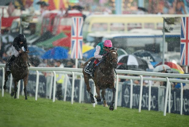Enable, with Frankie Dettori on board, on the way to winning the Epsom Oaks last month. Pic: Edward Whitaker