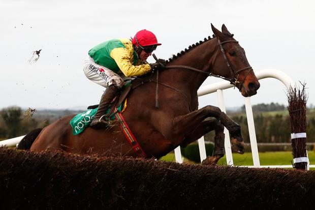 Sizing Titanium and Robbie Power clear the last when winning the Handicap Chase at Navan yesterday. Pic: www.racingpost.com